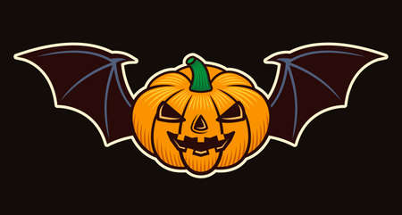 Halloween pumpkin with bat wings vector colored cartoon style illustration isolated on dark background