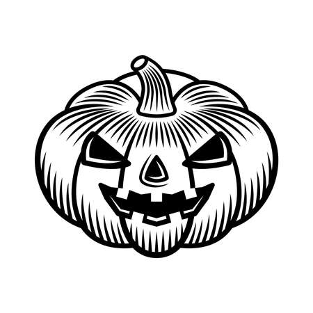Halloween pumpkin vector graphic object or design element in vintage monochrome style isolated on white background