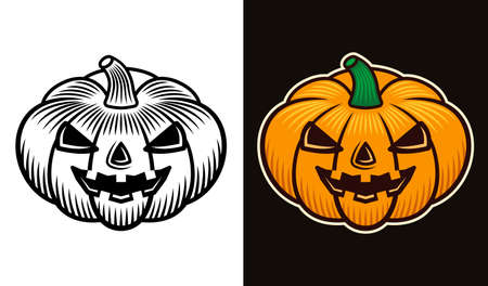 Halloween pumpkin two styles black on white and colored on dark background vector illustration