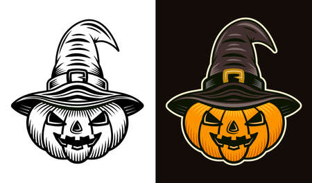 Halloween pumpkin in witch hat in two styles black on white and colorful on dark background vector illustration