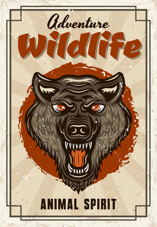 Wild animal vector decorative poster with wolf head in vintage style. Illustration with sample text and grunge textures on separate layers Illustration