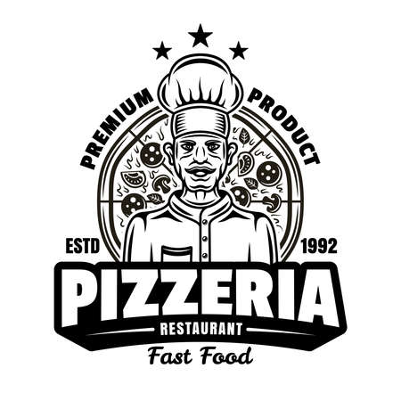 Pizzeria vector emblem, badge or label with chef in vintage monochrome style isolated on white. Fast food delivery template Illustration