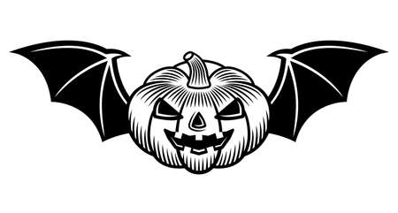 Halloween pumpkin with bat wings vector illustration in monochrome tattoo style isolated on white background