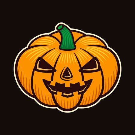 Halloween pumpkin character colorful vector illustration in cartoon style isolated on dark background