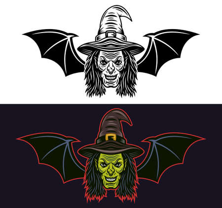 Witch head with bat wings two styles black on white and colored on dark background vector illustration Illustration