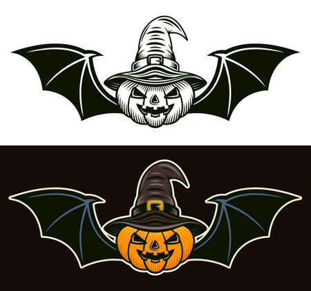 Halloween pumpkin in witch hat and with bat wings in two styles black on white and colorful on dark background vector illustration Vector Illustratie