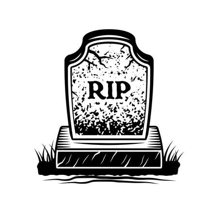Grave with inscription rip vector graphic object or design element in vintage monochrome style isolated on white background