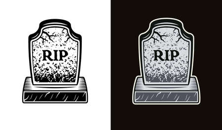 Gravestone in two styles black on white and colorful on dark background vector illustration