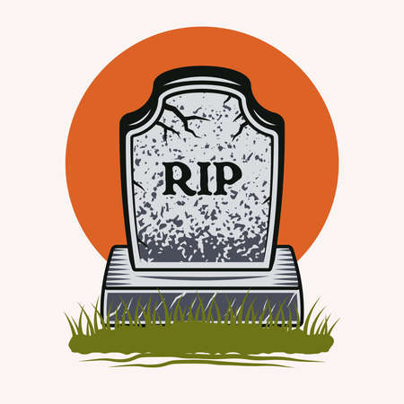 Grave with inscription rest in peace colorful vector illustration in cartoon style isolated on light background