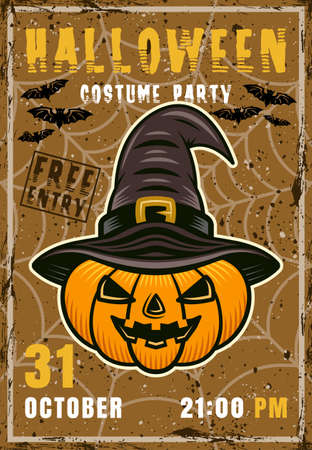 Halloween costume party vector invitation poster. Pumpkin with with hat vintage illustration with grunge textures and sample text on separate layers