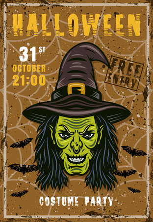 Halloween costume party vector invitation poster with witch head. Vintage illustration with grunge textures and sample text on separate layers