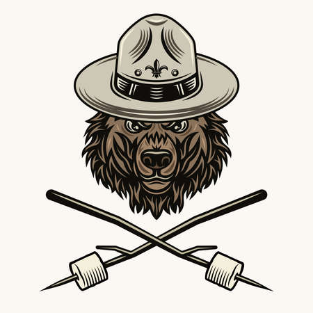 Bear scout in hat and two crossed marshmallow on wooden sticks colorful illustration on light background