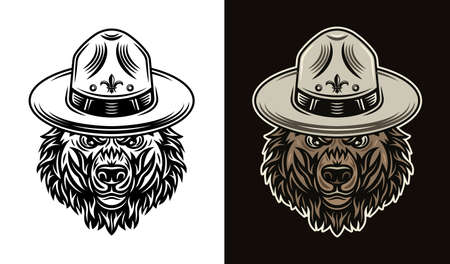 Bear head in scout hat two styles black on white and colorful on dark background illustration 向量圖像
