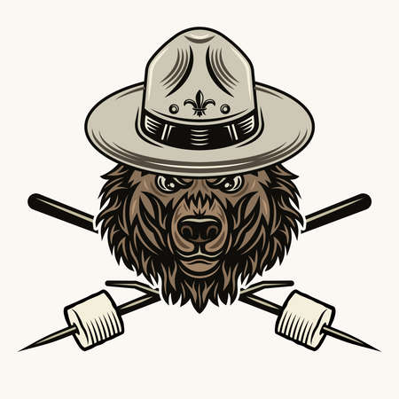 Grizzly bear head in scout hat and two crossed marshmallow on wooden sticks  colorful illustration on light background 向量圖像