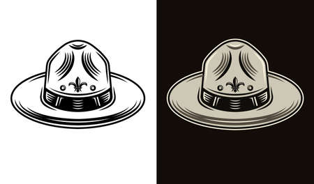 Scout hat two styles black on white and colorful on dark background illustration