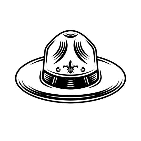 Scout hat graphic object or design element in vintage monochrome style isolated on white background 向量圖像