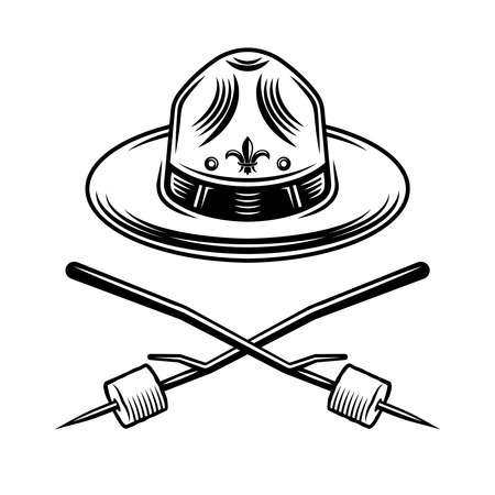 Scout hat and two crossed marshmallow on wooden sticks graphic object or design element in vintage monochrome style isolated on white background