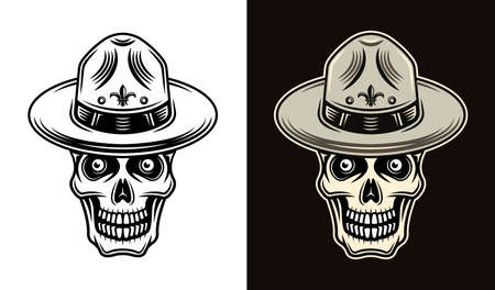 Skull of boy scout in hat two styles black on white and colorful on dark background vector illustration 向量圖像