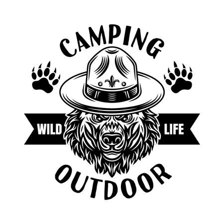 Camping and outdoor adventure vector emblem, badge, label   with grizzly bear in scout hat illustration in vintage monochrome style isolated on white background