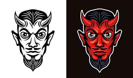 Devil head in two styles black on white and colorful on dark background vector illustration 向量圖像