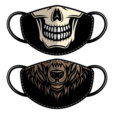 Set of two designs protective fabric face mask with bear and skull. Vector templates for printing