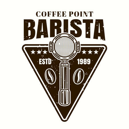Barista coffee point vector emblem, badge, label  with portafilter in monochrome vintage style isolated on white background