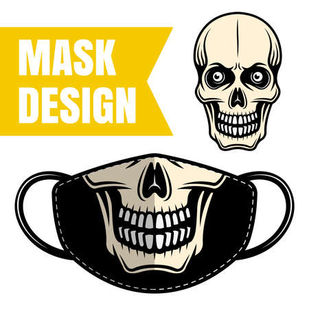 Protective fabric mask vector design with skull for printing isolated on white background. Skeleton face mask print for masquerade