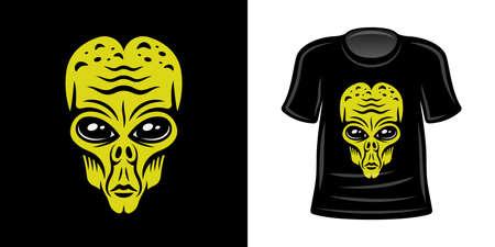 T-shirt print with green alien head vector apparel design template Vettoriali