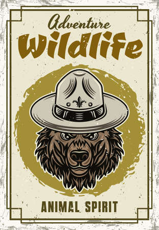 Wild animal vector decorative poster with grizzly bear head in vintage style. Illustration with sample text and grunge textures on separate layers