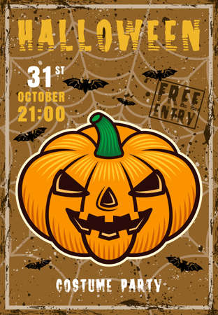 Halloween costume party vector invitation poster with pumpkin. Vintage illustration with grunge textures and sample text on separate layers