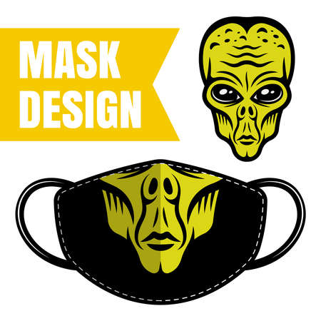 Protective fabric face mask vector design with alien print isolated on white background