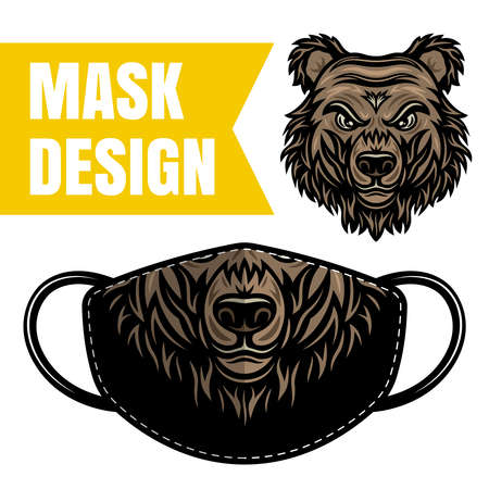 Protective fabric mask vector design with bear for printing isolated on white background. Grizzly face mask print for masquerade 向量圖像