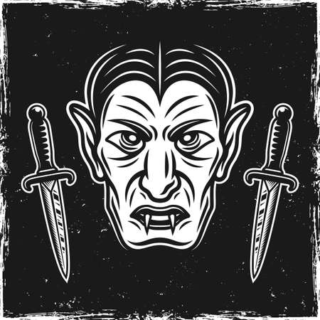 Vampire head and two ritual knives on dark background with grunge textures and scratched edges vector illustration