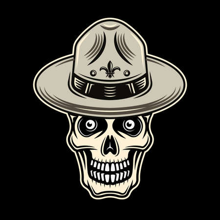Skull of boy scout in hat vector colorful illustration on dark background Vettoriali