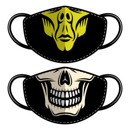 Set of two designs protective fabric face mask with alien and skull. Vector templates for printing