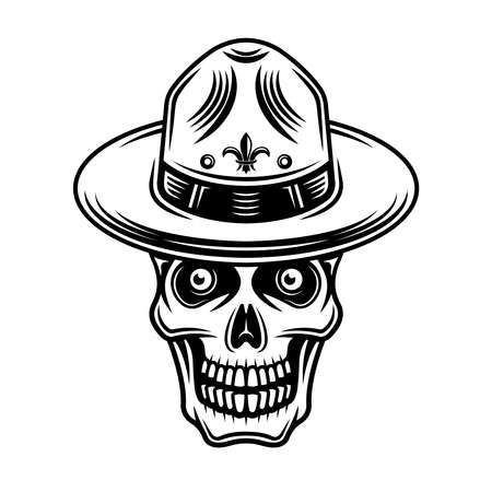 Skull of boy scout in hat vector illustration in monochrome vintage style isolated on white background 向量圖像