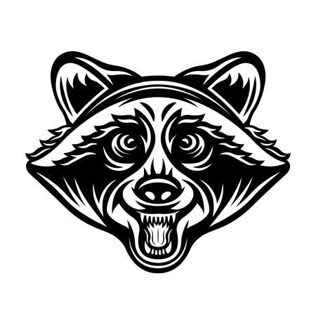 Raccoon head vector illustration in monochrome vintage style isolated on white background 向量圖像