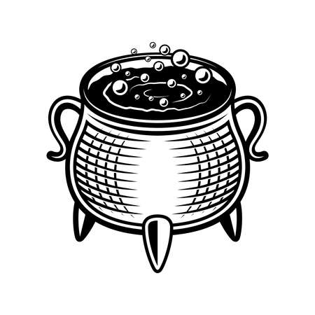 Witch pot vector illustration in monochrome vintage style isolated on white background Ilustracja