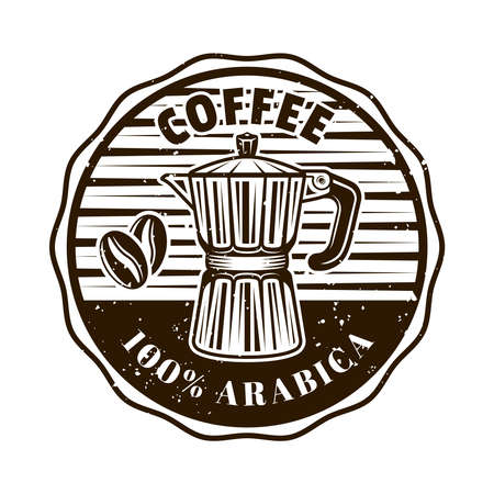 Coffee shop vector round emblem, badge, label, sticker with moka pot in monochrome vintage style isolated on white background