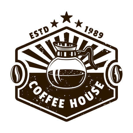 Coffee house vector emblem, badge, label, sticker  with glass pot in monochrome vintage style isolated on white background Zdjęcie Seryjne - 153268247
