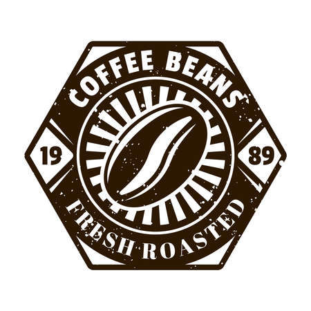 Coffee bean vector emblem, badge, label, sticker   in monochrome vintage style isolated on white background Ilustracja