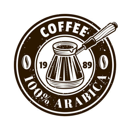 Coffee shop vector round emblem, badge, label, sticker with turkish cezve in monochrome vintage style isolated on white background Ilustracja