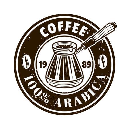 Coffee shop vector round emblem, badge, label, sticker with turkish cezve in monochrome vintage style isolated on white background Zdjęcie Seryjne - 153268250