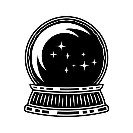 Crystal magic ball of witch vector illustration in monochrome vintage style isolated on white background Ilustracja