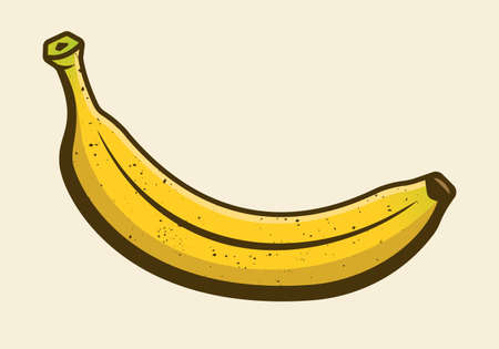 Banana colored yellow cartoon design element or graphic object vector illustration isolated on light background