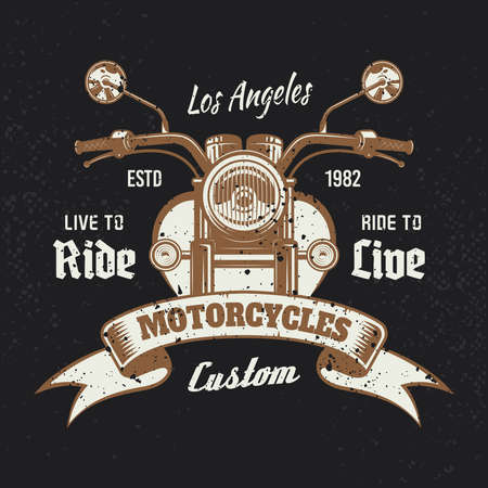 Motorcycle front view colored vintage emblem or t-shirt print on dark background. Vector illustration with removable grunge textures