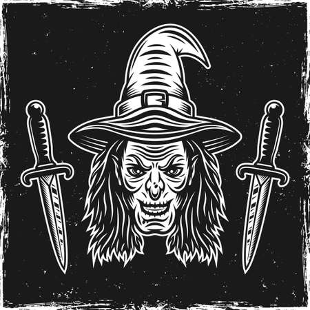 Witch head and two ritual knives on dark background with grunge textures and scratched edges vector illustration Ilustracja