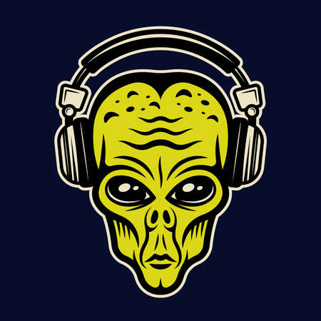 Alien head in headphones character colorful vector illustration in cartoon style isolated on dark background Zdjęcie Seryjne - 154454982