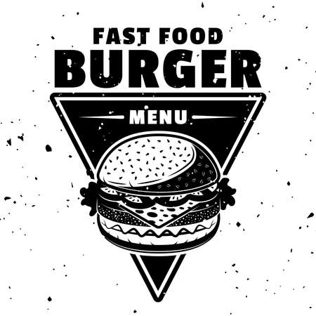 Burger vector monochrome emblem, badge, label, sticker or logo in vintage style isolated on white background 向量圖像
