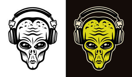 Alien head in headphones two styles black on white and colorful on dark background vector illustration